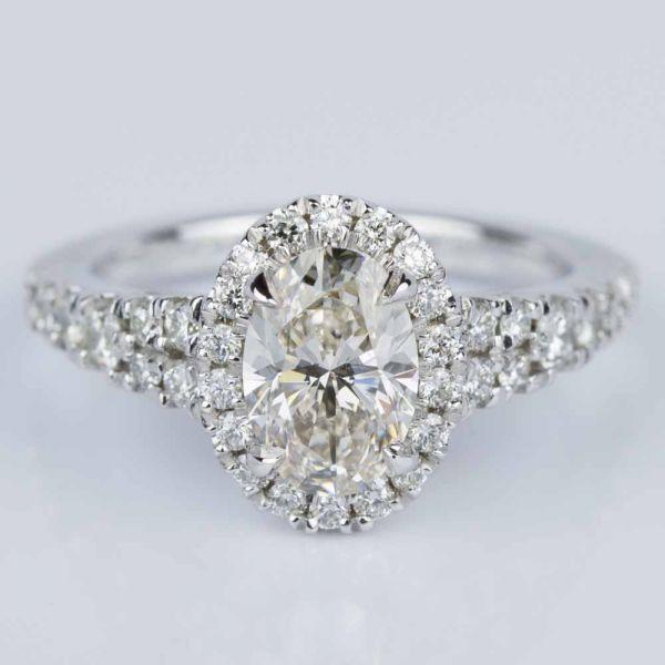 Petite Split Shank Oval Halo Diamond Engagement Ring 1 11 ct