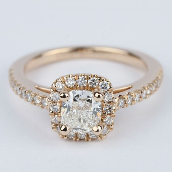 Square Halo Cushion Diamond Engagement Ring in Rose Gold