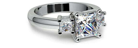 Princess Three Stone White Gold Moissanite Engagement Ring
