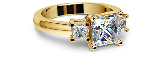 Princess Three Stone Yellow Gold Moissanite Engagement Ring