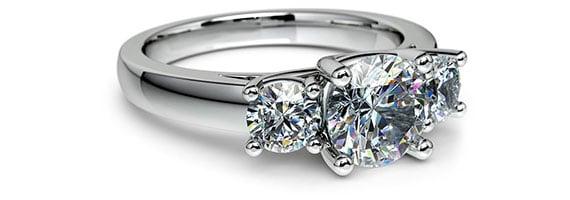 Round Three-Stone White Gold Preset Engagement Rings