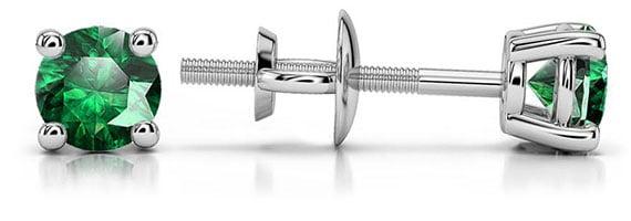 Tsavorite Platinum Gemstone Stud Earrings