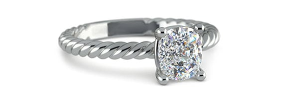 Cushion Twisted Rope Solitaire White Gold Moissanite Engagement Ring