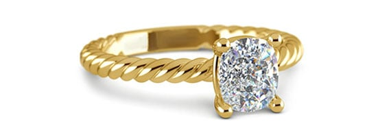 Cushion Twisted Rope Solitaire Yellow Gold Moissanite Engagement Ring