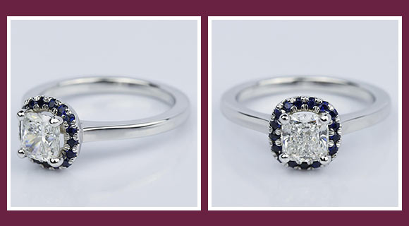 sapphire halo victorian engagement ring