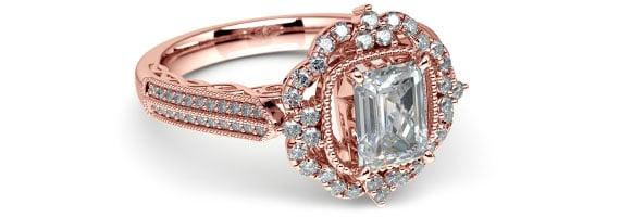 Vintage Rose Gold Halo Diamond Engagement Ring